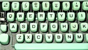 green typewriter keyboard