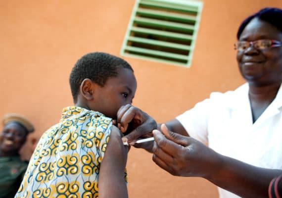 boy receives a vaccine