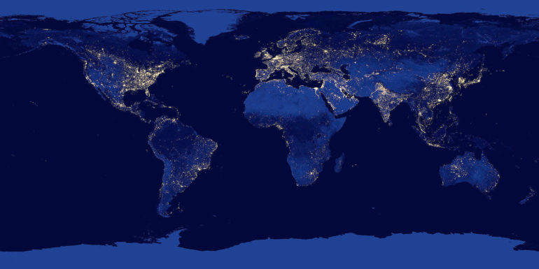 satellite images of lights at night