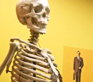 skeleton and businessman