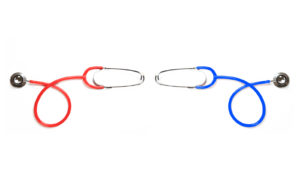 red and blue stethoscopes