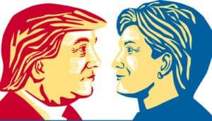 Trump/Clinton illustration