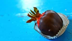 dark chocolate on strawberry