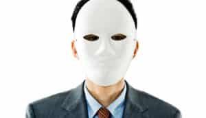 lawyer wears blank mask
