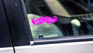 lyft sticker in window