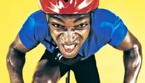 sweaty man on bicycle