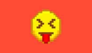 yuck emoji on red