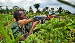 Congolese fighter in wilderness