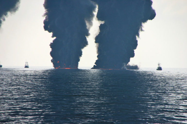Surface burning of oil slicks during the Deepwater Horizon event.