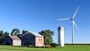 barn, silo, wind turbine