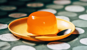 orange jello on plate