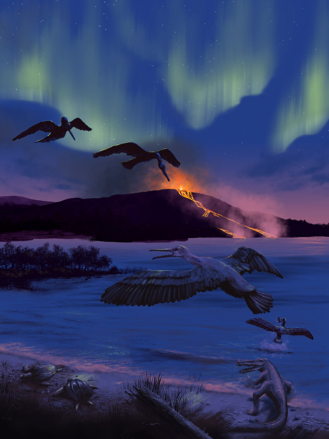 bird fossil environment art