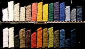 socks organized by color