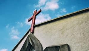 cross on church low angle