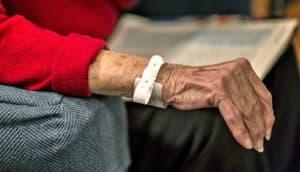hospital bracelet on wrist