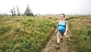 pregnant woman hiking