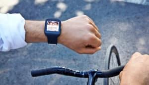 smartwatch and bike