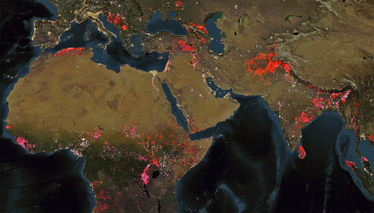 world map of Armed conflict between 1989 and 2015