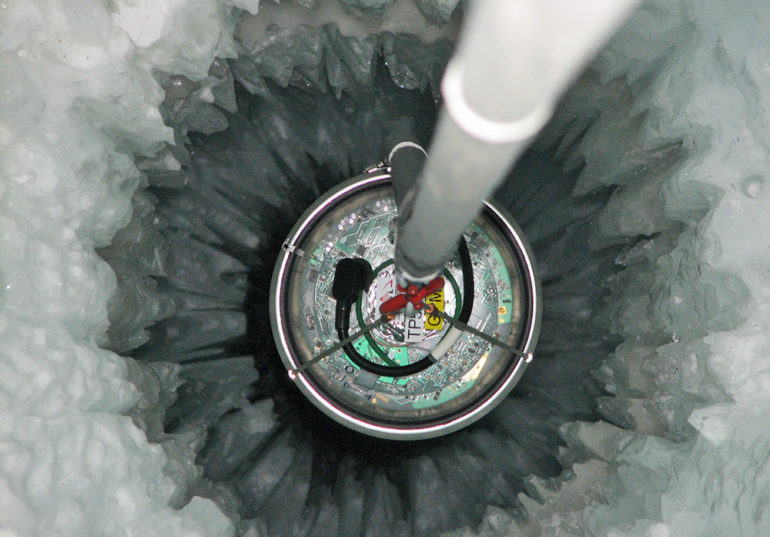 device in hole in ice