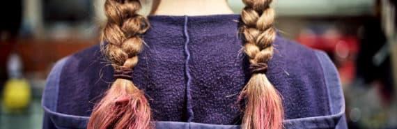 braids dyed pink and purple hoodie
