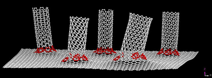 graphic illustration of carbon nanotubes bonded to graphene substrate