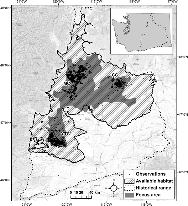 A map of sage grouse sightings in Eastern Washington