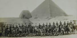 solders in front of sphinx