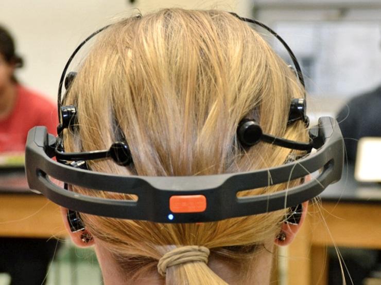 EEG headset on student
