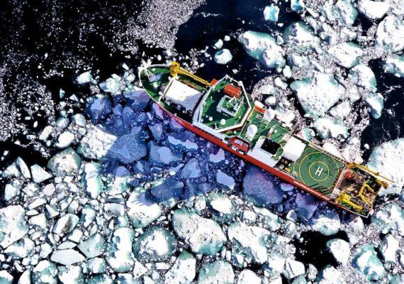 icebreaker ship in icy sea