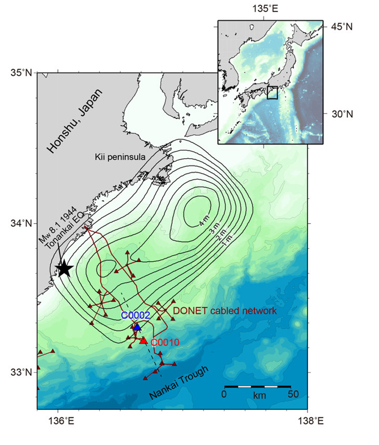 map of the subduction zone near Japan