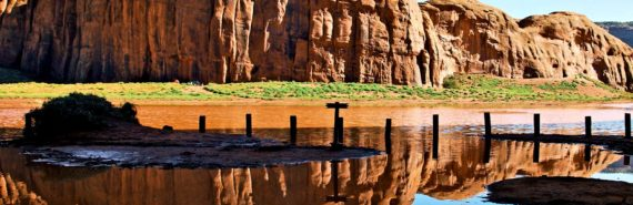 desert lake with mountain reflection
