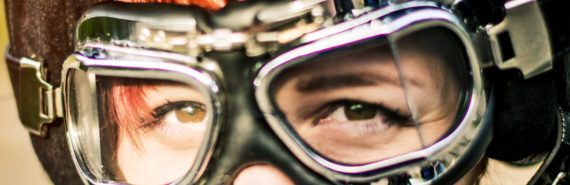 eyes in goggles and helmet