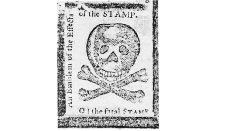 Stamp act image of skull