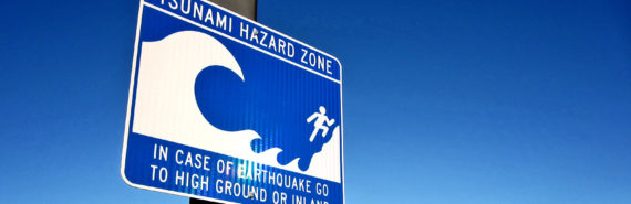 tsunami hazard zone sign