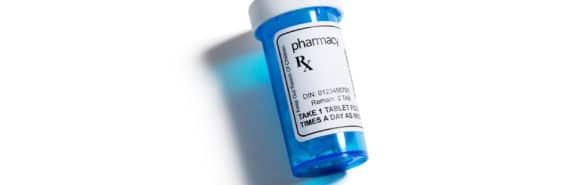 blue Rx bottle - opioid epidemic