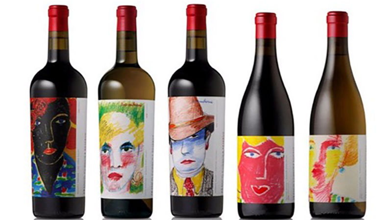 faces on wine bottle labels