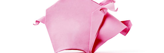 pink origami pig on white