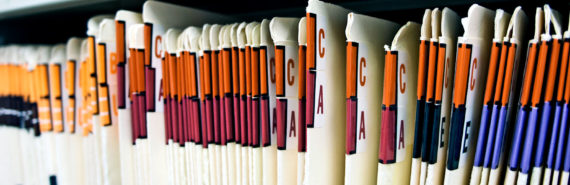 medical records on a shelf