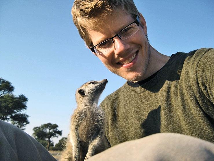 Ben Dantzer and a meerkat