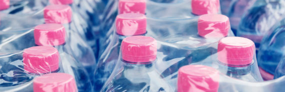 water bottles with pink tops