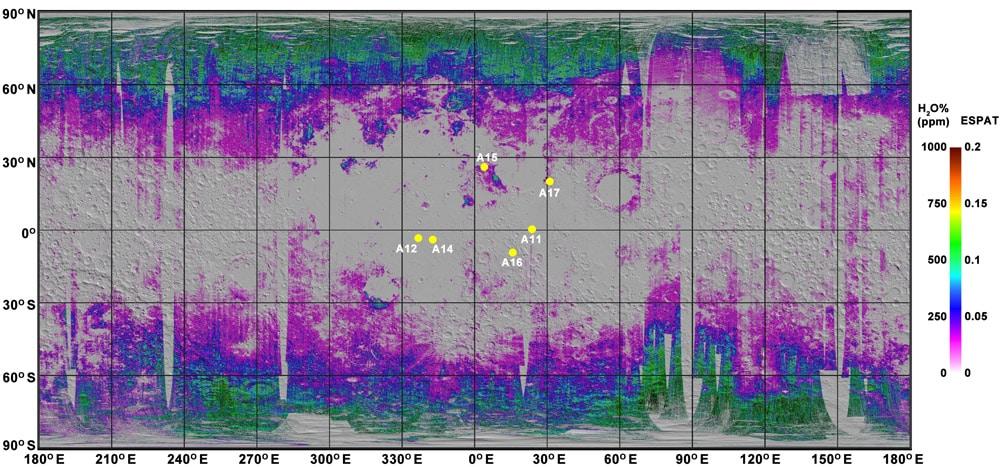 map of water in moon soil