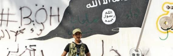 ISIS graffiti and FSA soldier