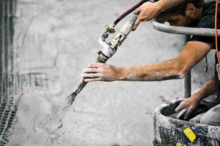 spraying concrete