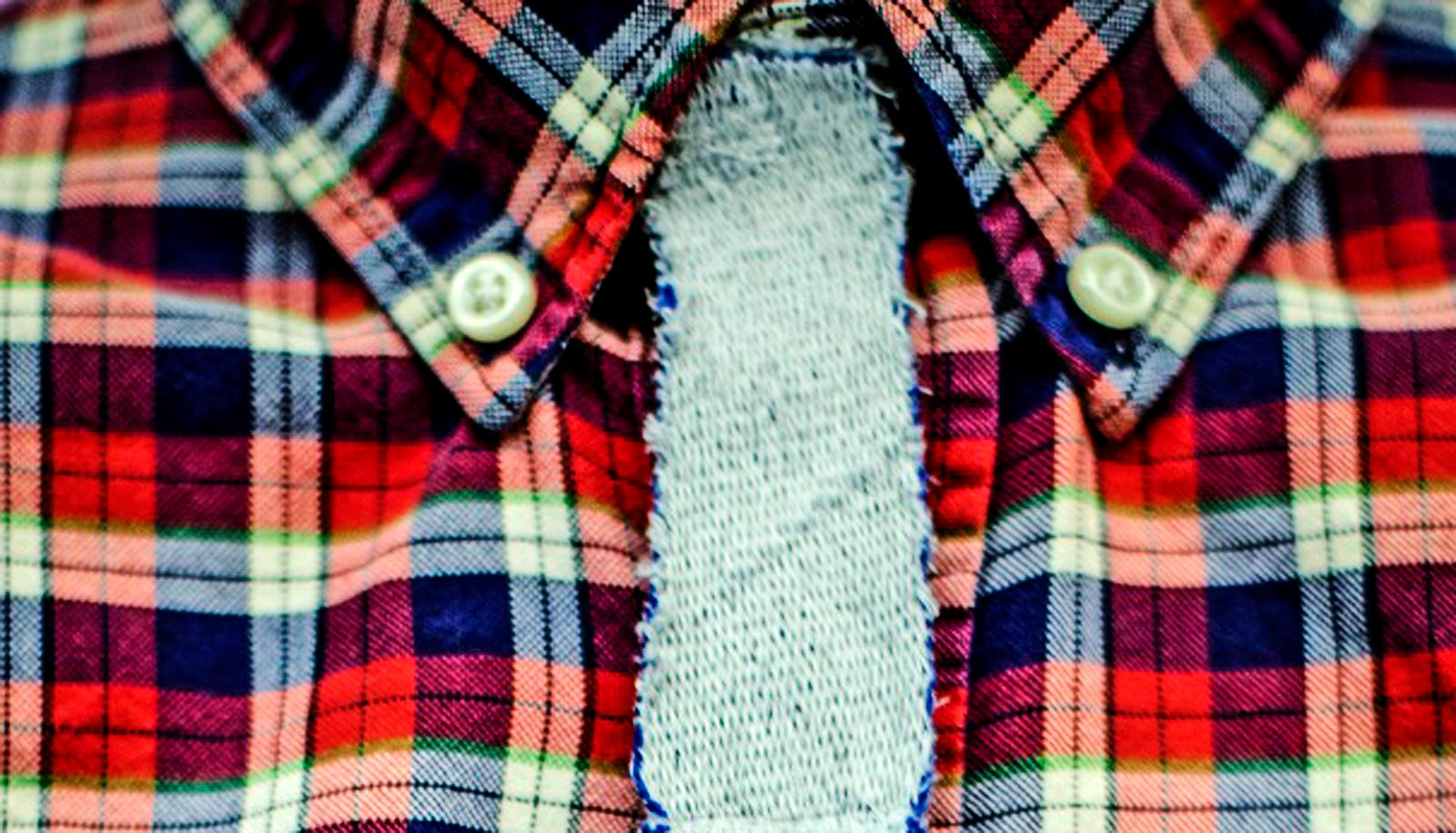 magnetized fabric tie on plaid flannel shirt