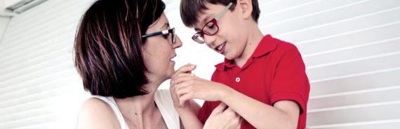 mom with boy with cerebral palsy