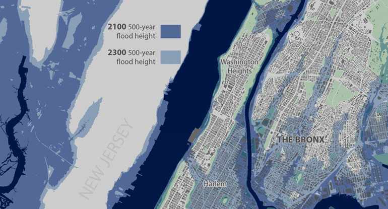 sea level rise nyc street map