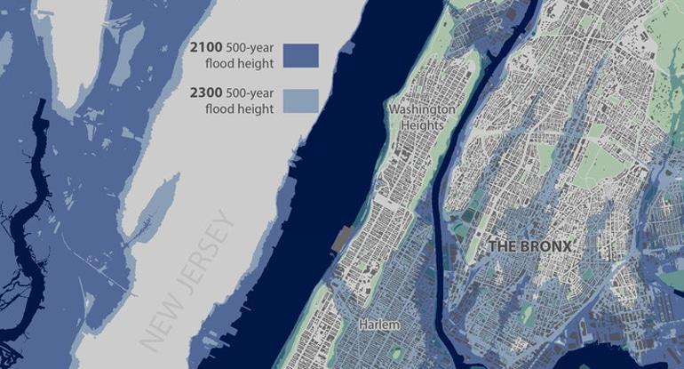 sea level rise nyc street map