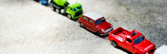 tiny cars in diagonal line