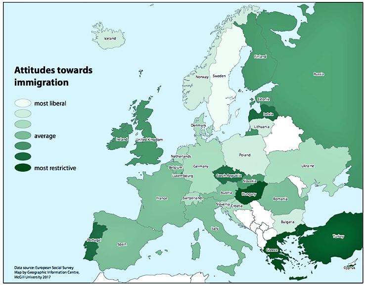 European map of attitudes towards immigrants