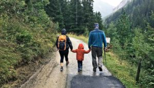 family taking a walk (child obesity and family concept)